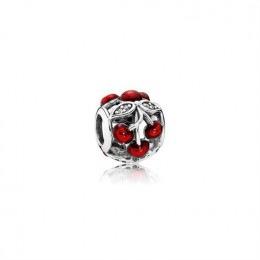 Pandora Jewelry Cherry silver charm with clear cubic zirconia and red enamel