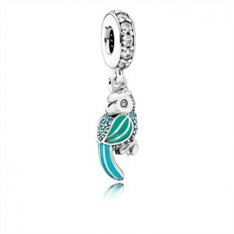 Pandora Jewelry Tropical Parrot Dangle Charm-Mixed Enamels-Teal & Clear CZ