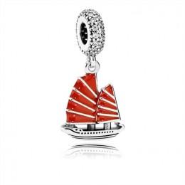 Pandora Jewelry Chinese Junk Ship Dangle Charm-Red Enamel & Clear CZ