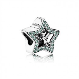 Pandora Jewelry Disney-Tinker Bell Star Charm-Green CZ 791920NPG