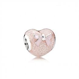 Pandora Jewelry Pink Bow & Lace Heart Charm-Transparent Misty Rose & Soft Pink Enamel