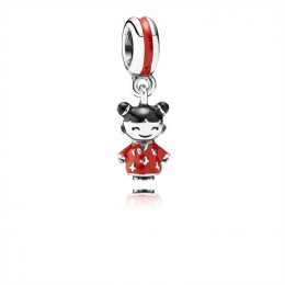 Pandora Jewelry Chinese Doll Dangle Charm-Red & Black Enamel 791431ENMX