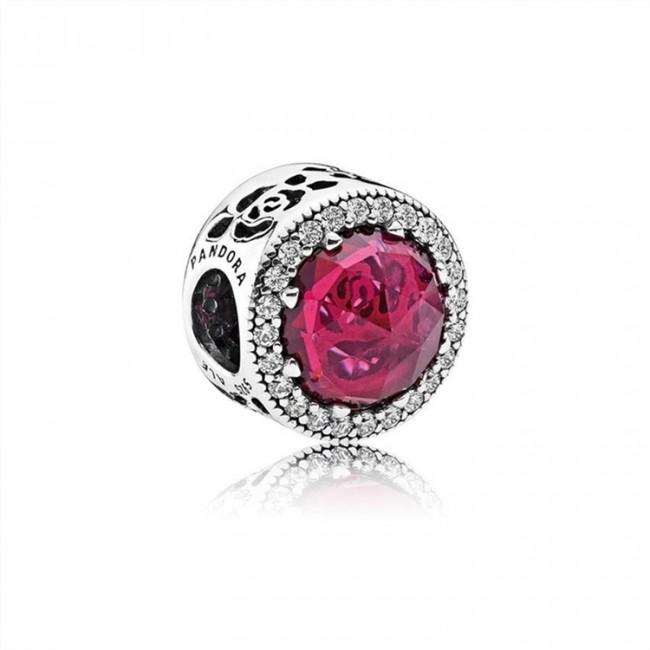 Pandora Jewelry Disney-Belle's Radiant Rose Charm-Cerise Crystals & Cubic Zirconia