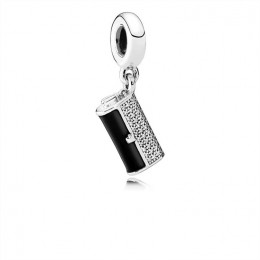 Pandora Jewelry Clutch Bag Dangle Charm-Black Enamel & Clear CZ 792155C