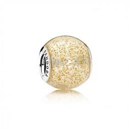 Pandora Jewelry Glitter Ball Charm-Golden Glitter Enamel 796327EN146