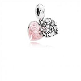Pandora Jewelry Love Makes A Family Dangle Charm-Pink Enamel & Clear CZ