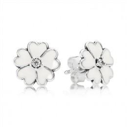 Pandora Jewelry Primrose Stud Earrings-White Enamel 290569EN12