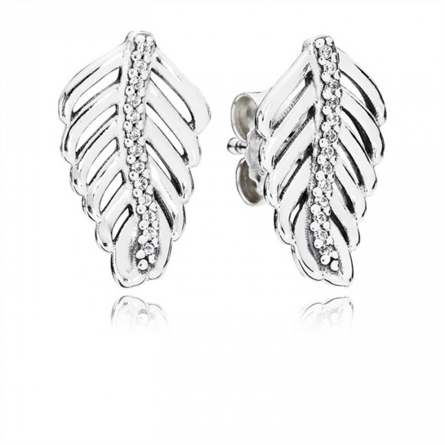 Pandora Jewelry Shimmering Feathers Stud Earrings-Clear CZ 290582CZ
