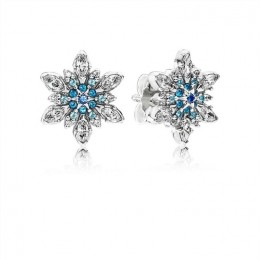 Pandora Jewelry Snowflake Silver Stud Earrings With Mixed Blue Shades Of Crystal