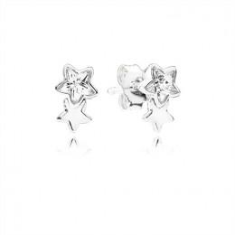 Pandora Jewelry Twin star silver stud earrings with clear cubic zirconia 290598CZ
