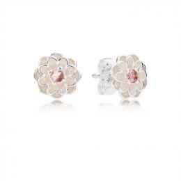 Pandora Jewelry Blooming Dahlia Stud Earrings-Cream Enamel & Blush Pink Crystals