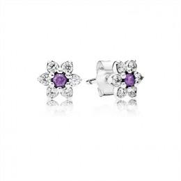Pandora Jewelry Forget Me Not Stud Earrings-Purple & Clear CZ 290690ACZ
