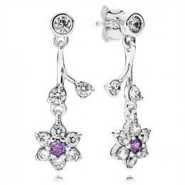 Pandora Jewelry Forget Me Not Drop Earrings-Purple & Clear CZ 290691ACZ