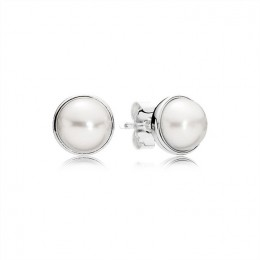 Pandora Jewelry Elegant Beauty Stud Earrings-White Pearl 290727P