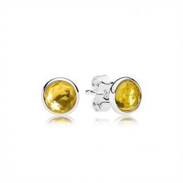 Pandora Jewelry November Droplets Stud Earrings-Citrine 290738CI