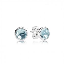 Pandora Jewelry March Droplets Stud Earrings-Aqua Blue Crystal 290738NAB