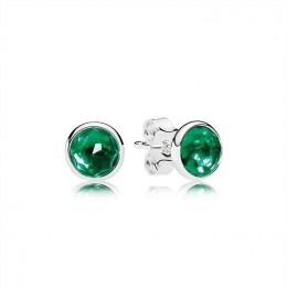 Pandora Jewelry May Droplets Stud Earrings-Royal-Green Crystal 290738NRG