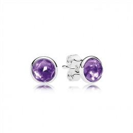 Pandora Jewelry February Droplets Stud Earrings-Synthetic Amethyst 290738SAM