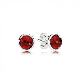 Pandora Jewelry July Droplets Stud Earrings-Synthetic Ruby 290738SRU