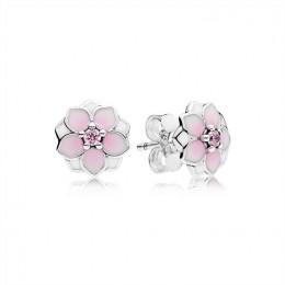 Pandora Jewelry Magnolia Bloom Stud Earrings-Pale Cerise Enamel & Pink CZ 290739PCZ