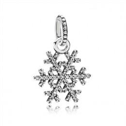 Pandora Jewelry Sparkling Snowflake Silver Necklace Pendant-390354CZ