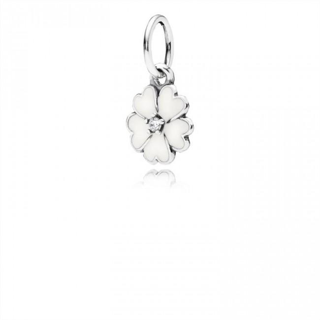 Pandora Jewelry Primrose Pendant-White Enamel & Clear CZ 390365en12