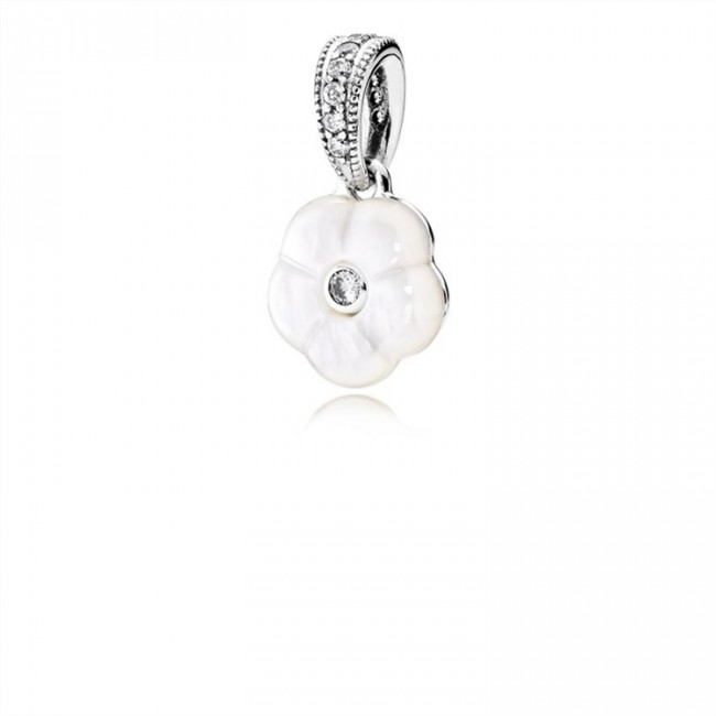 Pandora Jewelry Luminous Florals Pendant-Mother-Of-Pearl & Clear CZ 390386MOP