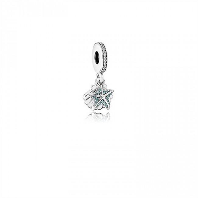 Pandora Jewelry Tropical Starfish & Sea Shell Dangle Charm-Frosty Mint & Clear CZ