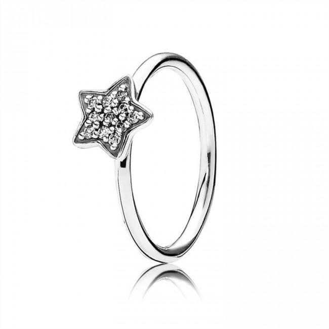 Pandora Jewelry Star silver ring with cubic zirconia 190891CZ