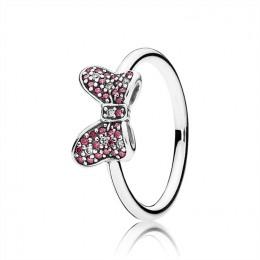 Pandora Jewelry Disney-Minnie's Sparkling Bow Ring-Red & Clear CZ 190956CZR