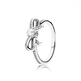 Pandora Jewelry Delicate Sentiments Ring-White Pearl & Clear CZ 190971P