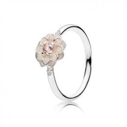 Pandora Jewelry Blooming Dahlia Ring-Cream Enamel-Clear CZ & Blush Pink Crystals