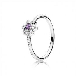 Pandora Jewelry Forget Me Not Ring-Purple & Clear CZ 190990ACZ