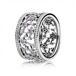 Pandora Jewelry Forget Me Not Ring-Purple & Clear CZ 190991ACZ