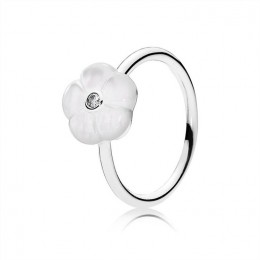 Pandora Jewelry Luminous Florals Ring-Mother-Of-Pearl & Clear CZ 190999