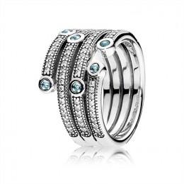 Pandora Jewelry Shimmering Ocean Ring-Frosty Mint & Clear CZ 191002CZF