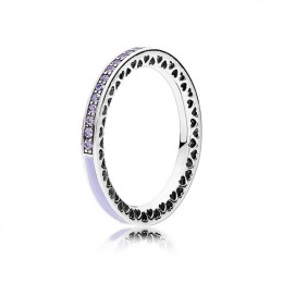 Radiant Hearts of Pandora Jewelry Ring-Lavender Enamel & Clear CZ