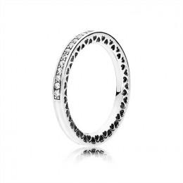 Radiant Hearts of Pandora Jewelry Ring-Silver Enamel & Clear CZ 191011CZ