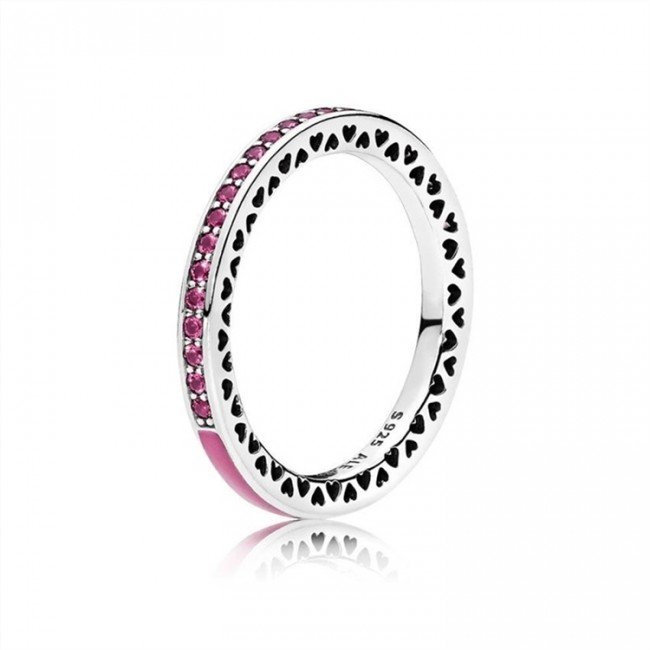 Radiant Hearts of Pandora Jewelry Ring-Radiant Orchid Enamel & Cerise Crystals