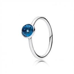 Pandora Jewelry December Droplet Ring-London Blue Crystal 191012NLB