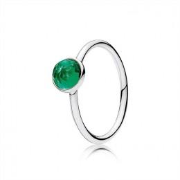 Pandora Jewelry May Droplet Ring-Royal-Green Crystal 191012NRG