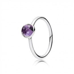Pandora Jewelry February Droplet Ring-Synthetic Amethyst 191012SAM